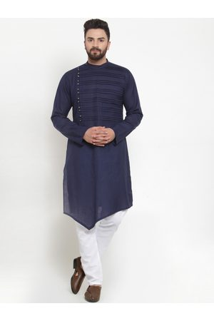 TREEMODA Men Navy Blue Solid Linen Kurta with Pyjamas
