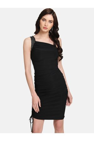 Kazo Women Black Solid Sheath Dress