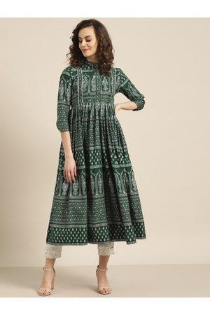 Sangria Women Green & Silver Printed A-Line Kurta