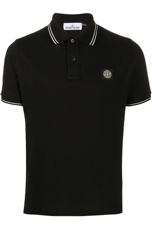 Stone Island Short-sleeved logo patch polo shirt