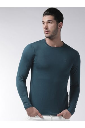 CHKOKKO Men Teal Blue Solid Round Neck T-shirt
