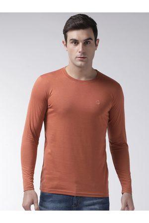 CHKOKKO Men Rust Orange Solid Round Neck T-shirt