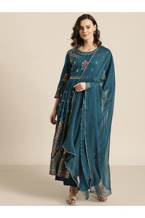 Sangria Women Teal Blue & Golden Printed Kurta with Palazzos with Dupatta