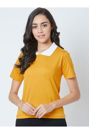 The Dry State Women Mustard Yellow Slim Fit Solid Polo Collar T-shirt