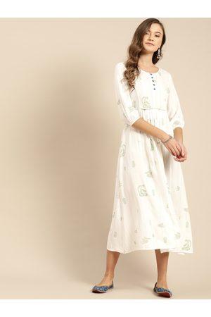 IMARA Women White & Green Printed A-Line Dress