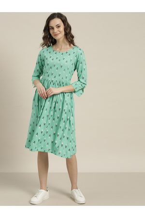 Sangria Women Green & Black Printed A-Line Dress