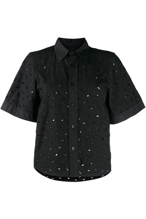 Ami Cut-out embroidered short-sleeved shirt