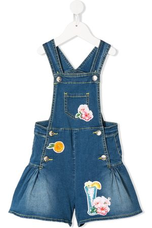 MONNALISA TEEN multi-patch denim overalls