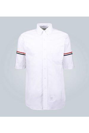 Thom Browne Men Short sleeves - Grosgrain cuff oxford shirt