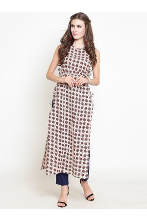 Sera Women Off-White & Navy Blue Printed Kurti with Palazzos