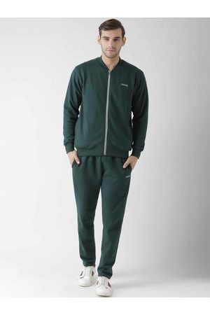 GRIFFEL Men Green Solid Tracksuit