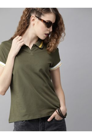 Roadster Women Olive Grey Solid Polo Collar T-shirt