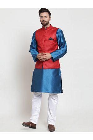 NEUDIS Men Blue & White Self Design Kurta with Pyjamas