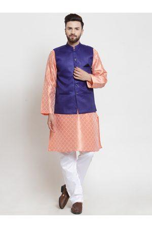 NEUDIS Men Peach-Coloured & White Woven Design Kurta with Pyjamas
