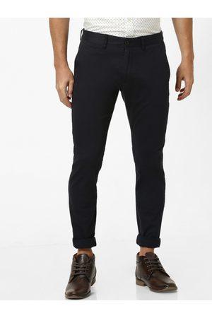 Celio Men Navy Blue Slim Fit Solid Regular Trousers