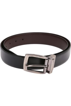 Alvaro Castagnino Men Black & Brown Solid Reversible Leather Belt