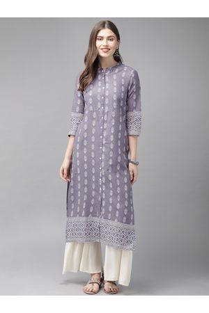 Anouk Women Purple & White Printed A-Line Kurta