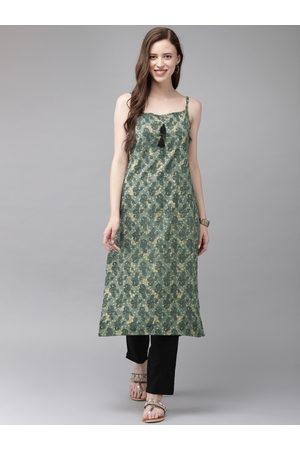 Anouk Women Grey & Beige Printed A-Line Kurta