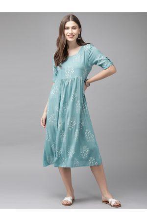 Anouk Women Turquoise Blue & Off-White Printed Fusion A-Line Kurta