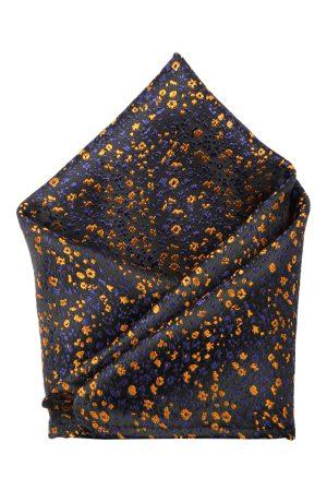 ZIDO Men Navy Blue & Yellow Self-Design Pocket Square