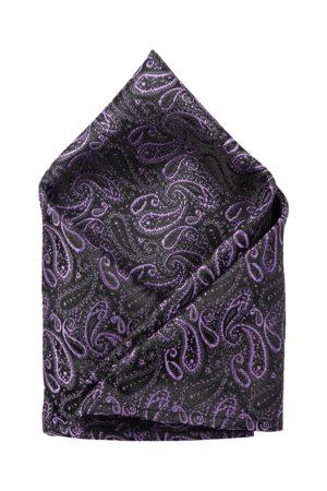 ZIDO Men Black & Purple Self-Design Pocket Square
