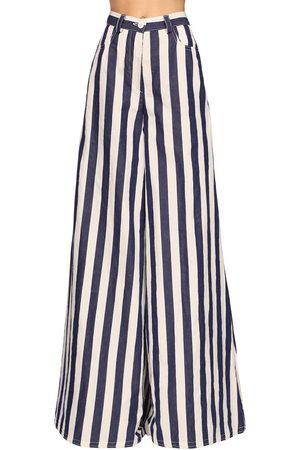 SUNNEI Striped Cotton Blend Maxi Palazzo Pants
