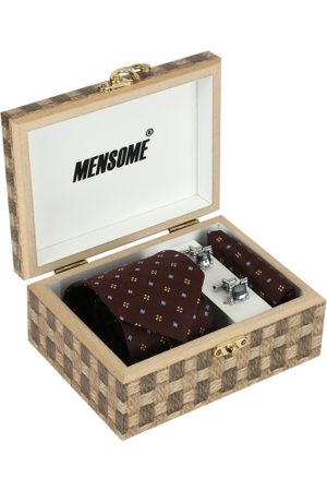 MENSOME Men Brown & Silver-Toned Accessory Gift Set