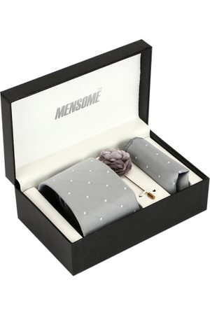 MENSOME Men Grey & White Accessory Gift Set