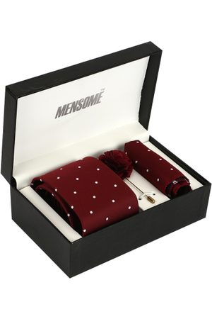 MENSOME Men Maroon & White Accessory Gift Set