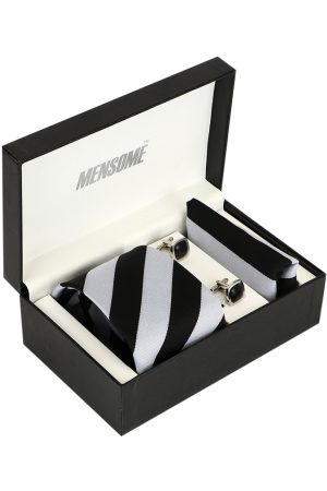 MENSOME Men Grey & Black Striped Accessory Gift Set