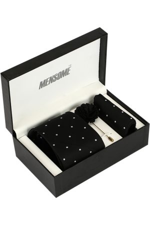 MENSOME Men Black & White Polka Dotted Accessory Gift Set