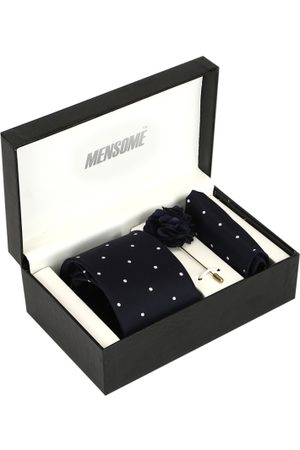 MENSOME Men Navy Blue & White Polka Dotted Accessory Gift Set
