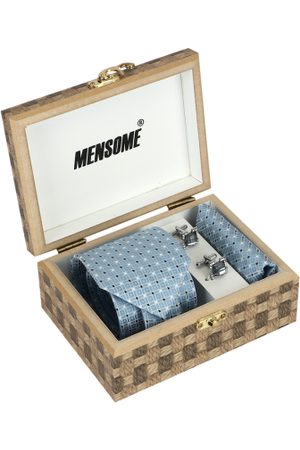 MENSOME Men Blue & White Accessory Gift Set