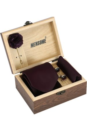 MENSOME Men Burgundy & Gold-Toned Accessory Gift Set