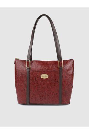 Hidesign Maroon Textured Leather Shoulder Bag