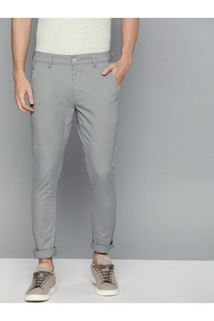 HARVARD Men Grey Slim Fit Solid Chinos