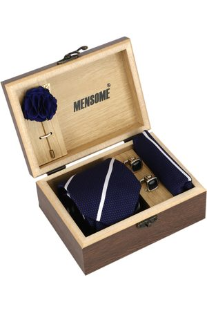 MENSOME Men Navy Bslue & White Accessory Gift Set