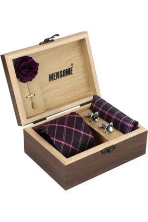 MENSOME Men Black & Violet Accessory Gift Set