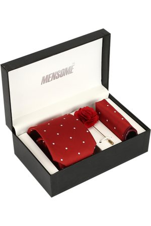MENSOME Men Red & White Accessory Gift Set