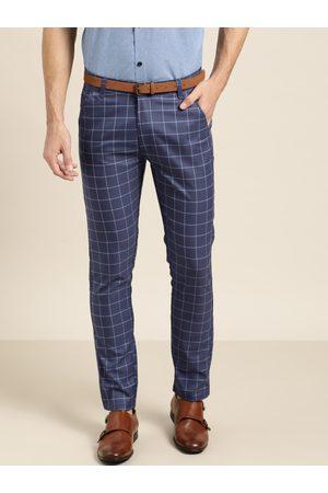 SOJANYA Men Blue Smart Regular Fit Checked Trousers