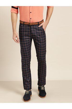 SOJANYA Men Navy Blue & Peach-Coloured Smart Regular Fit Checked Trousers