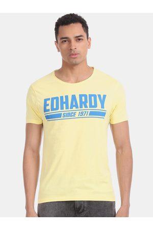 ED HARDY Men Yellow & Blue Printed Round Neck T-shirt