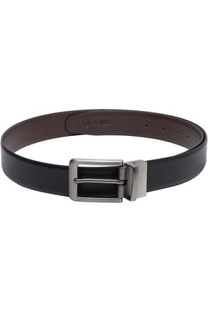 amicraft Men Black & Coffee Brown Textured Leather Reversible Belt