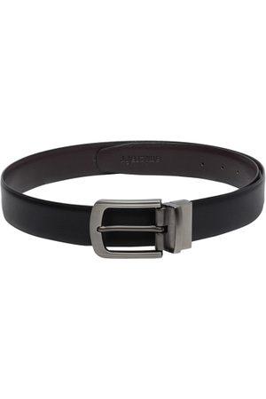 amicraft Men Black & Coffee Brown Reversible Solid Belt