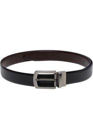 amicraft Men Black & Coffee Brown Solid Reversible Belt