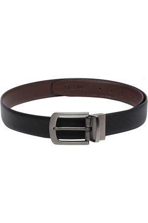 amicraft Men Black & Coffee Brown Textured Reversible Belt