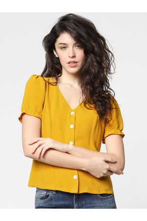 Only Women Mustard Yellow Solid Regular Top