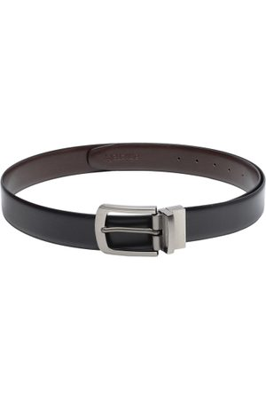 amicraft Men's Black & Coffee Brown Reversible Solid Belt