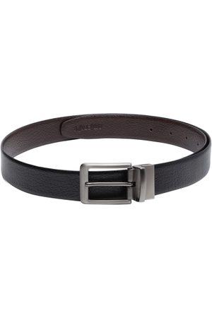amicraft Men Black & Coffee Brown Textured Reversible Leather Belt