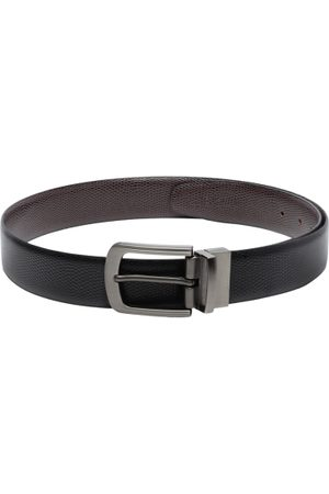 amicraft Men Black & Coffee Brown Snakeskin Textured Reversible Belt